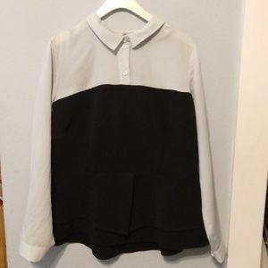 Eloquii black and grey peplum blouse